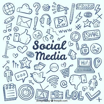 Fundo de mídia social com elementos de mão desenhada