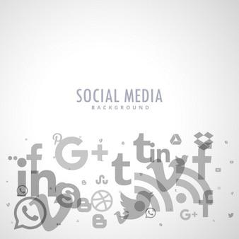 Fundo de mídia social com ícones cinzentos