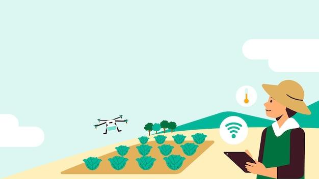 Fundo de mídia social de vetor de agricultura de precisão