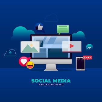 Fundo de mídia social em estilo gradiente