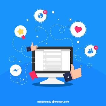 Fundo de mídia social plana com computador