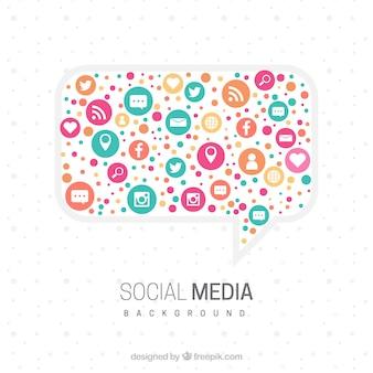 Fundo de mídia social plana com design de bolha do discurso