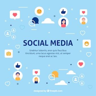 Fundo de mídia social plana com variedade de ícones