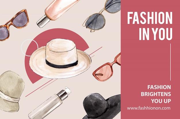 Fundo de moda com chapéu, óculos de sol