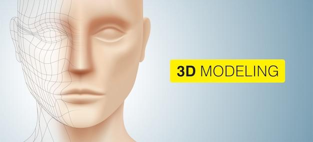 Fundo de modelagem 3d. o rosto de um jovem branco com linhas poligonais, isolado em um fundo colorido prateado. escultura modelo e ilustração do conceito de renderização.