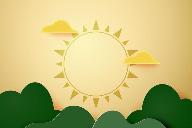 Fundo de modelo abstrato de corte de papel 3d. forma geométrica de montanhas onduladas verdes com nuvens e sol. ilustração em vetor.