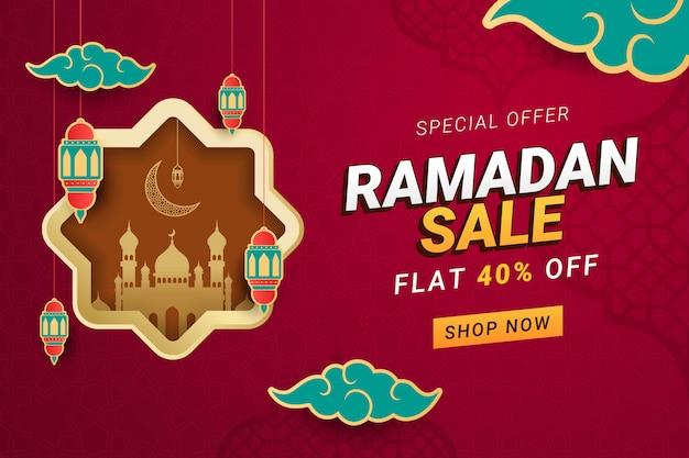 Fundo de modelo de banner de venda de ramadã