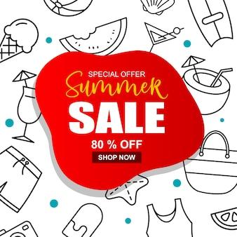 Fundo de modelo de capa de banner de venda de verão. desconto de verão oferta especial design bonito.