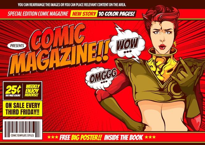 Fundo de modelo de capa em quadrinhos de mulheres.