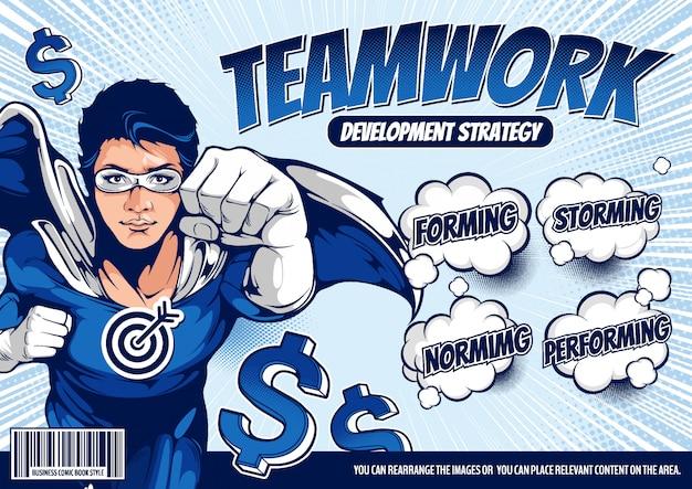 Fundo de modelo de capa em quadrinhos de negócios super-herói.