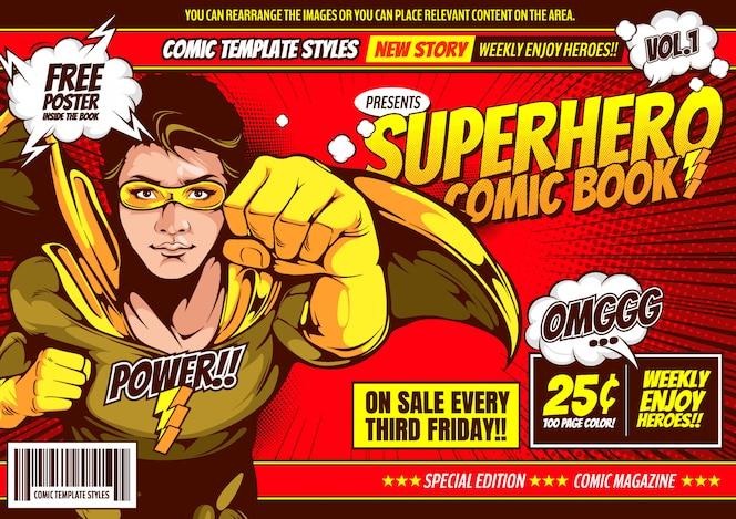 fundo de modelo de capa em quadrinhos de super-herói.