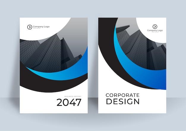 Fundo de modelo de design ou brochura de capa corporativa para design de negócios. modelo de layout de folheto de negócios moderno em tamanho a4. relatório anual de design de capa moderna com elemento de onda azul