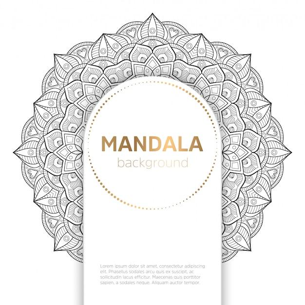 Fundo de modelo de mandala preto e branco