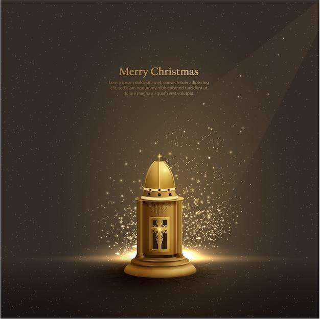 Fundo de modelo de natal com lanterna de igreja de ouro