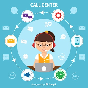 Fundo de moderno call center em design plano