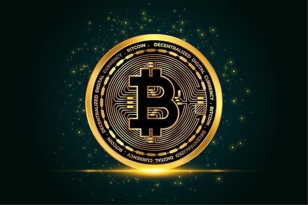 Fundo de moeda dourada com bitcoin criptomoeda