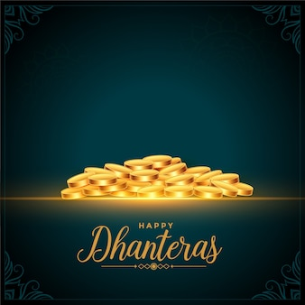 Fundo de moedas de ouro do feliz festival dhanteras