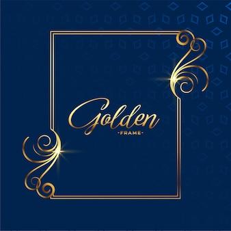 Fundo de moldura de bela decoração floral dourada
