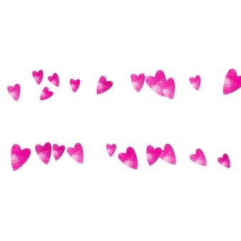 Fundo de moldura de coração com glitter rosa. dia dos namorados. confete de vetor. textura de mão desenhada. tema de amor para cupons de presente, vouchers, anúncios, eventos. modelo de casamento e nupcial com moldura de coração.
