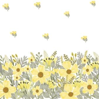 Fundo de moldura de flor amarela