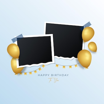Fundo de moldura de foto de feliz aniversário