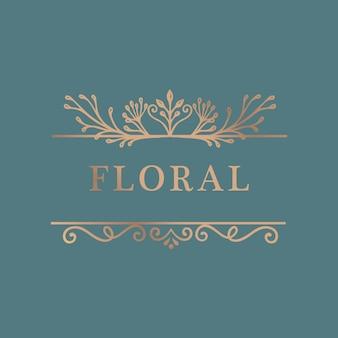Fundo de moldura de ouro floral