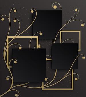 Fundo de moldura de ouro no padrão de hera dourada com um fundo gradiente preto