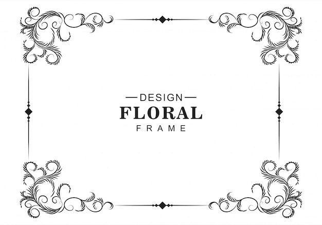Fundo de moldura decorativa floral artística