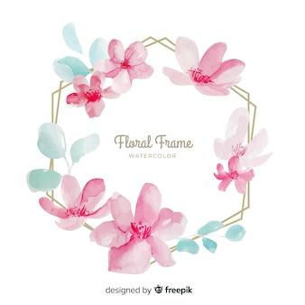 Fundo de moldura floral aquarela