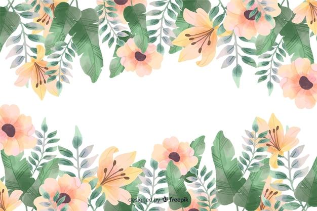 Fundo de moldura floral com design em aquarela