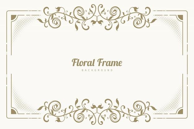 Fundo de moldura floral de ornamento Vetor grátis