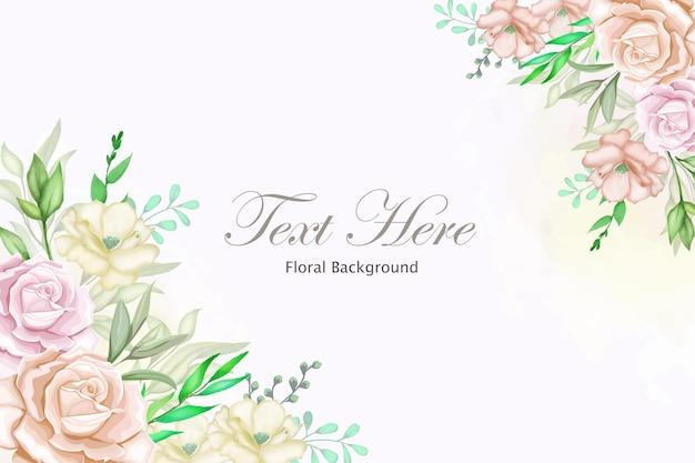 Fundo de moldura floral elegante com lindos florais
