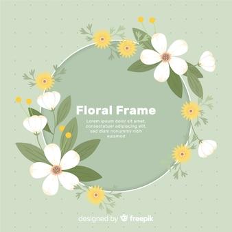Fundo de moldura floral em círculo