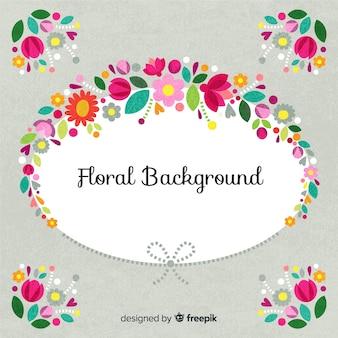 Fundo de moldura oval floral