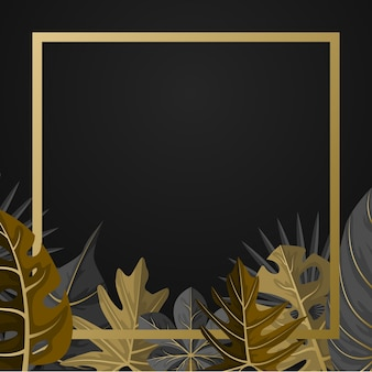 Fundo de moldura quadrada de folha de verão tropical dourada