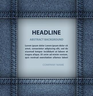 Fundo de moldura quadrada de jeans com modelo de texto