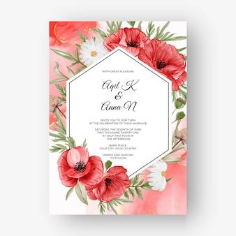 Fundo de moldura rosa linda para convite de casamento com flor de papoula vermelha
