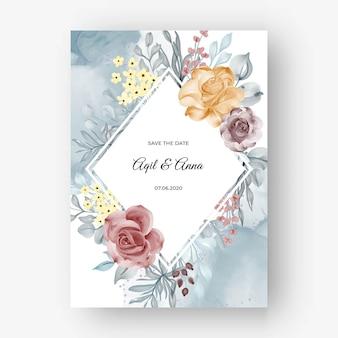 Fundo de moldura rosa linda para convite de casamento com outono pastel suave