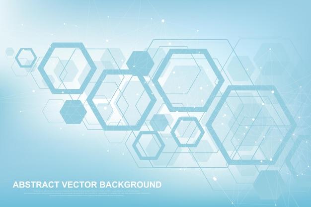 Fundo de molécula científica para medicina, ciência, tecnologia, química. papel de parede ou banner com moléculas de dna, dna digital, sequência, estrutura de código. ilustração dinâmica geométrica do vetor.