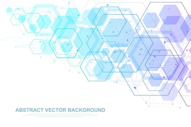 Fundo de molécula científica para medicina, ciência, tecnologia, química. papel de parede ou banner com moléculas de dna, dna digital, sequência, estrutura de código. ilustração dinâmica geométrica vetorial