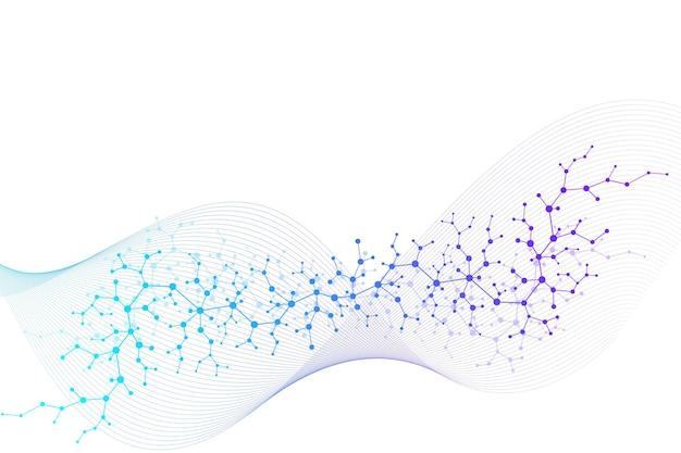 Fundo de molécula científica para medicina, ciência, tecnologia, química. papel de parede ou banner com moléculas de dna. ilustração dinâmica geométrica do vetor.