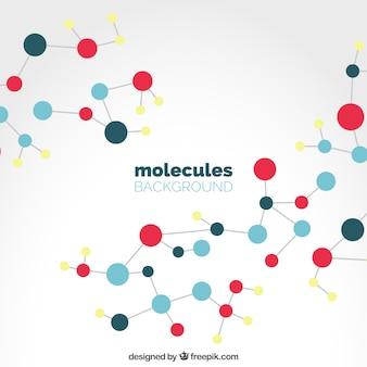 Fundo de moléculas coloridas em design plano