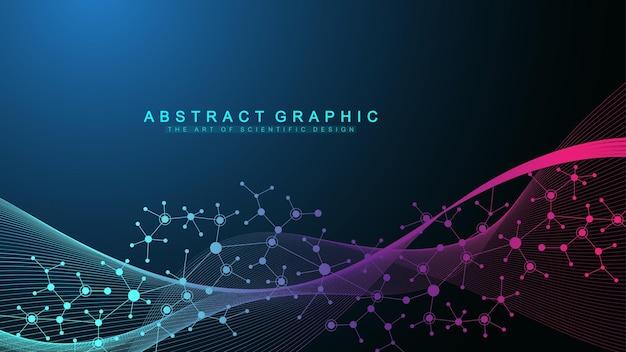 Fundo de moléculas coloridas. estrutura abstrata, ciência ou formação médica