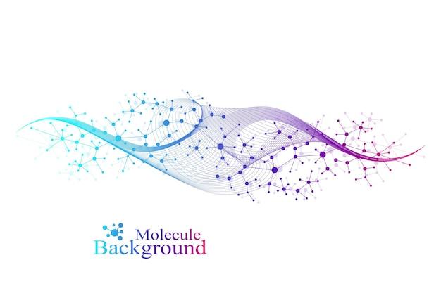 Fundo de moléculas coloridas. hélice de dna, fita de dna, teste de dna. molécula ou átomo, neurônios. estrutura abstrata para ciência ou formação médica, banner. ilustração científica do vetor.