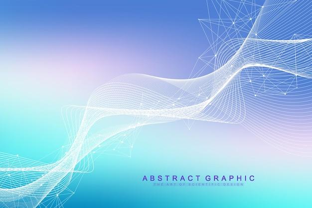 Fundo de moléculas coloridas. hélice de dna, fita de dna, teste de dna. molécula ou átomo, neurônios. estrutura abstrata para ciência ou formação médica, banner. ilustração vetorial molecular científica