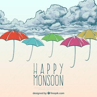 Fundo de monção feliz com nuvens e guarda-chuva desenhado a mão