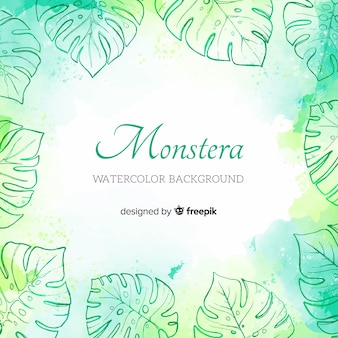 Fundo de monstera aquarela