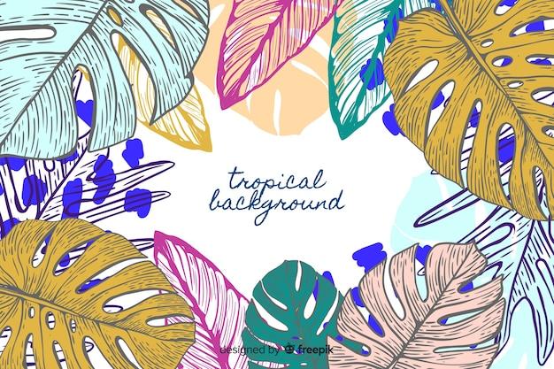 Fundo de monstera tropical desenhada de mão