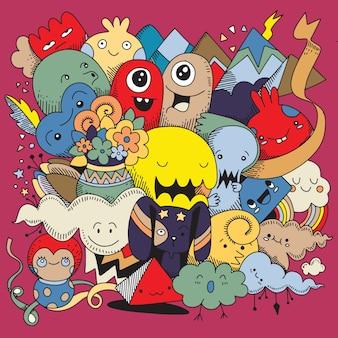 Fundo de monstro bonito doodle