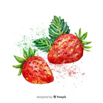 Fundo de morango em aquarela